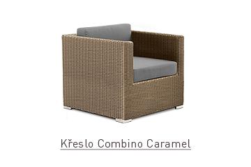 Ratanový zahradní nábytek křeslo Combino Caramel s područkami
