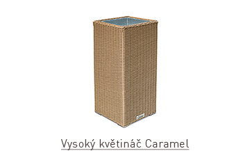 Ratanový zahradní nábytek květináč rovný vysoký caramel