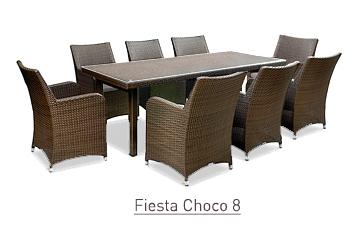 Ratanový zahradní nábytek jídelní set Fiesta Choco 8
