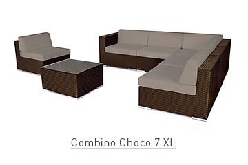 Ratanový zahradní nábytek sedací variabilní sestava Combino Choco 7 XL