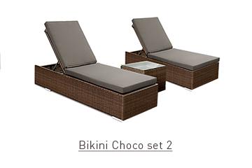 Ratanový zahradní nábytek lehátka k bazénu Bikini Choco Set 2