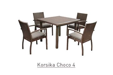 Ratanový zahradní nábytek jídelní set Korsika Choco 4