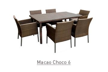 Ratanový zahradní nábytek jídelní set pro 6 Macao choco