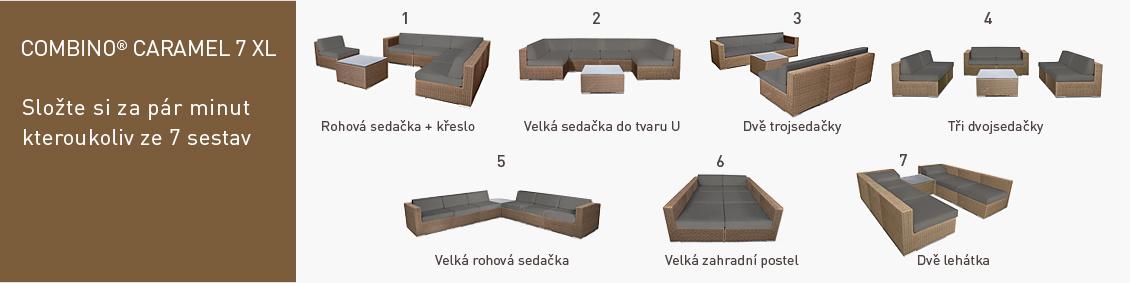 Ratanový zahradní nábytek variabilní sedací sestavy