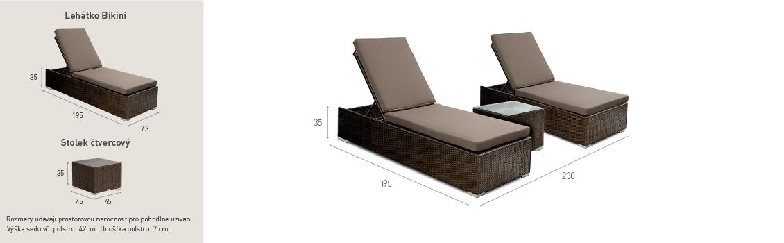 Ratanový zahradní nábytek lehátka k bazénu Bikini Nero Set 2 rozměry