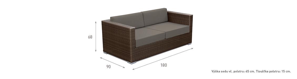 Ratanový zahradní nábytek pohovka pro 2 choco rozměry