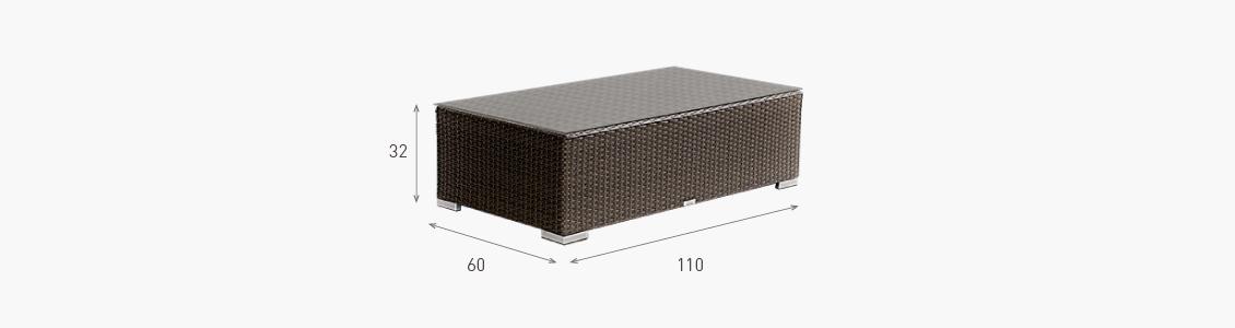 Ratanový zahradní nábytek stolek combino nero rozměry