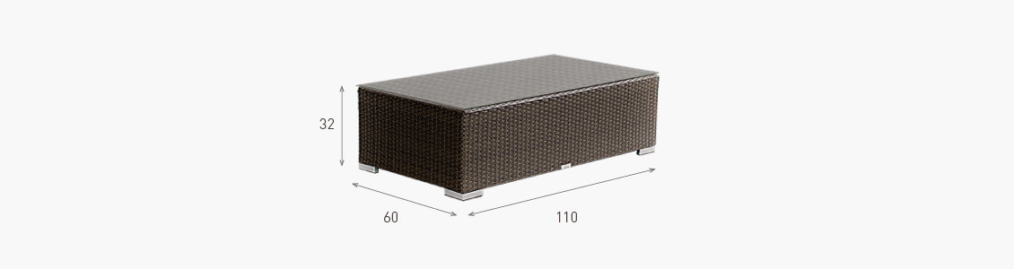 Ratanový zahradní nábytek stolek combino choco rozměry