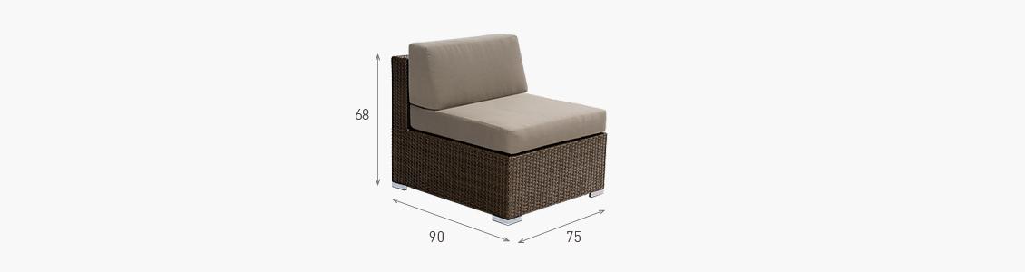 Ratanový zahradní nábytek variabilní sedací soupravy středové křeslo combino nero XL rozměry
