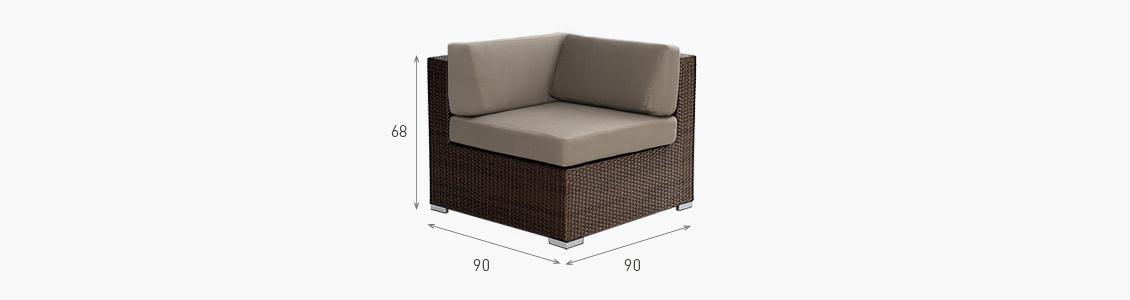 Ratanový zahradní nábytek rohové křeslo Combino Choco XL rozměry