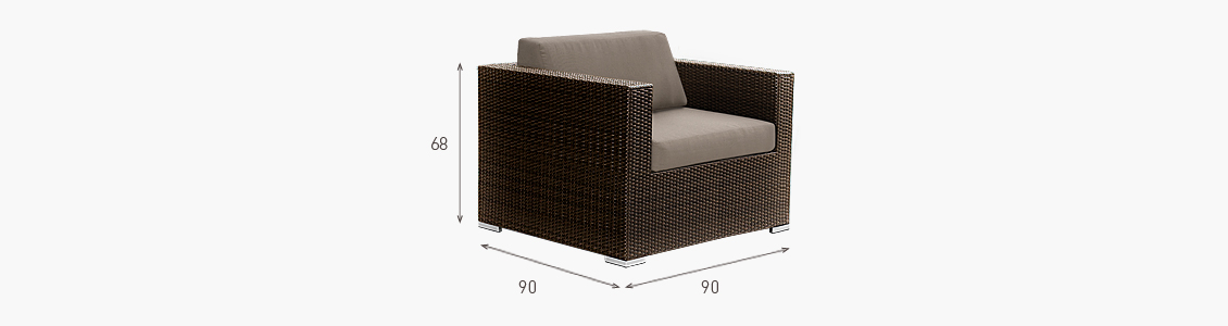 Ratanový zahradní nábytek křeslo Combino Choco XL s područkami rozměry