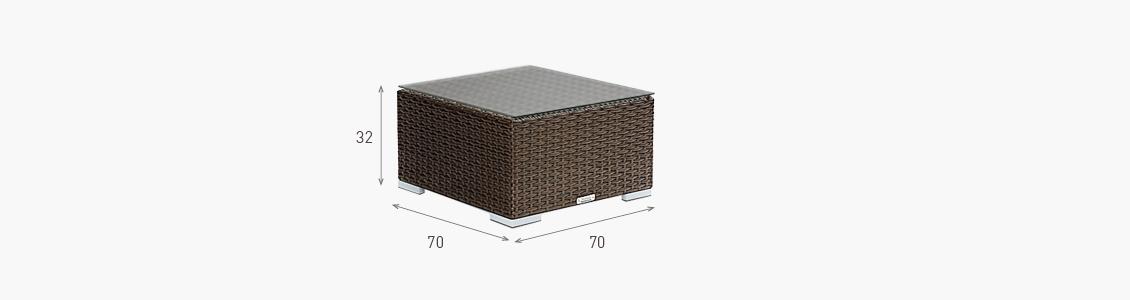 Ratanový zahradní nábytek rozměry stolek čtvercový