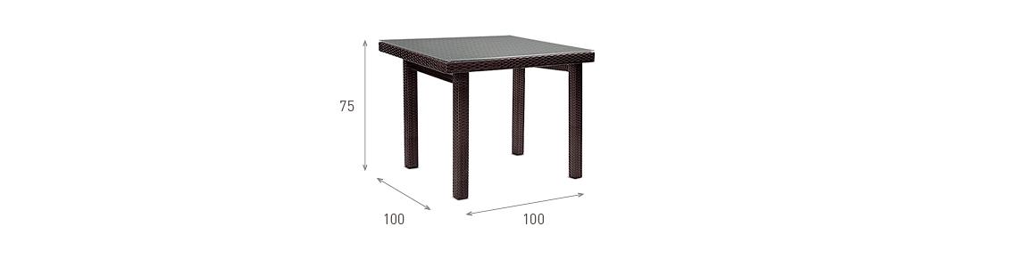 Ratanový zahradní nábytek jídelní stůl nero pro 4