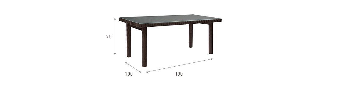 Ratanový zahradní nábytek stůl pro 6 osob