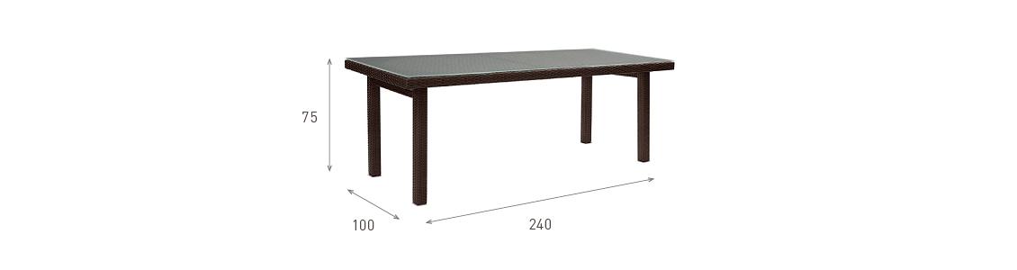 Ratanový zahradní nábytek jídelní stůl pro 8 rozměry
