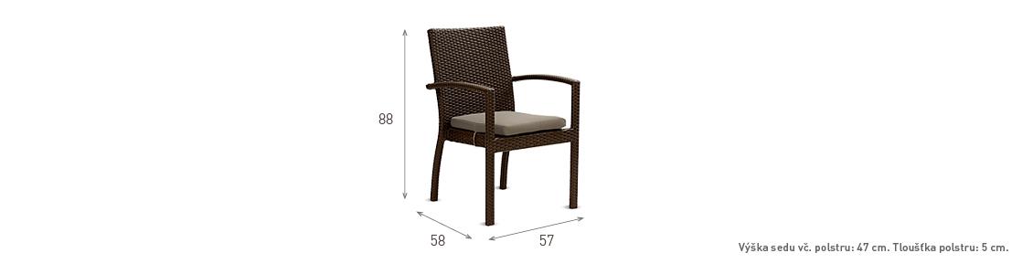 Ratanový zahradní nábytek jídelní židle Korsika nero rozměry
