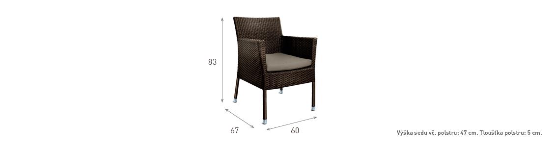 Ratanový zahradní nábytek jídelní židle Macao nero rozměry