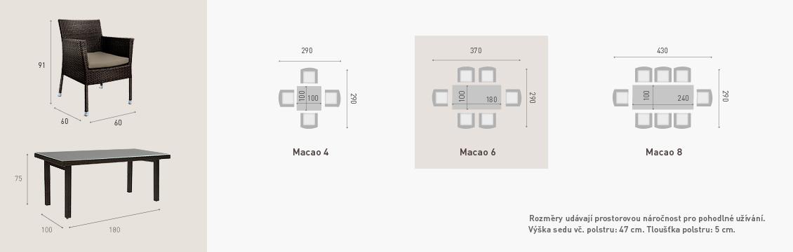 Ratanový zahradní nábytek jídelní set Macao rozměry