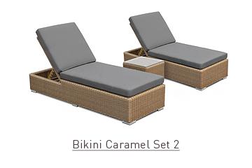 Ratanový zahradní nábytek lehátka Bikini caramel set 2