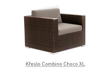 Ratanový zahradní nábytek křeslo Combino Choco XL s područkami