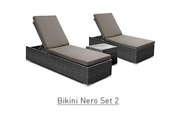 Ratanový zahradní nábytek lehátka k bazénu Bikini Nero Set 2