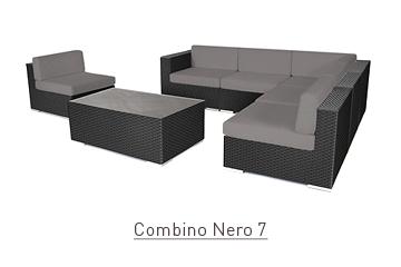 Ratanový zahradní nábytek sedací variabilní sestava Combino Nero 7