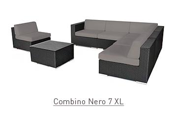Ratanový zahradní nábytek sedací variabilní sestava Combino Nero 7 XL