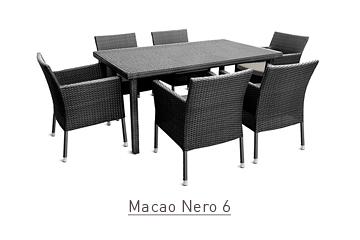 Ratanový zahradní nábytek jídelní set Macao Nero pro 6