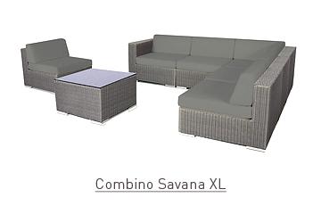 Ratanový zahradní nábytek sedací sestava Combino savana 7 XL